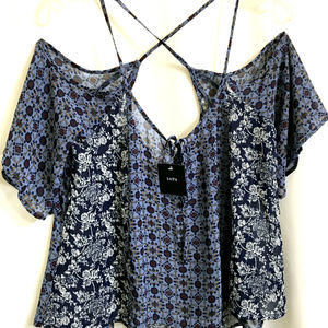 NWT InTu Strap Crop Cold Should Blouse Shirt Top